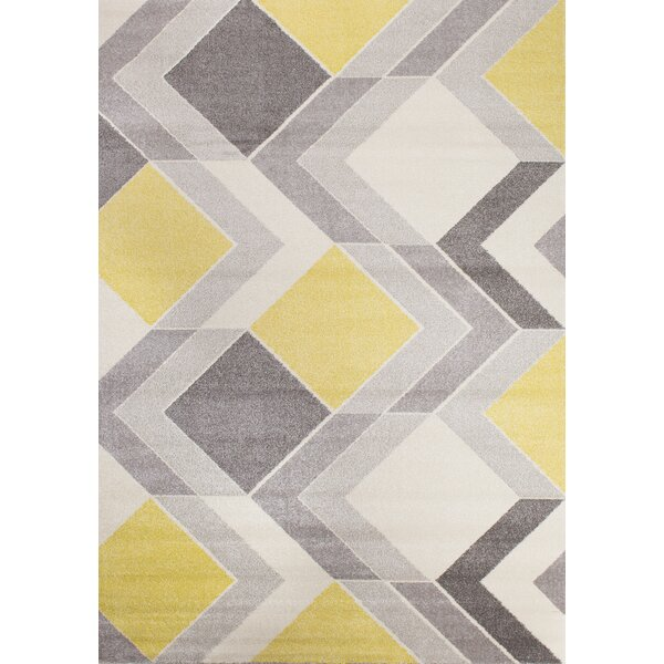 Wesley Cube Gray/Yellow Area Rug by Corrigan Studio