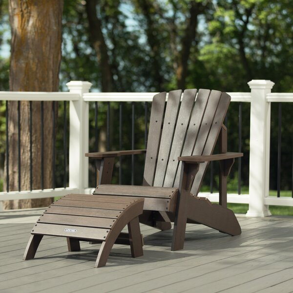 Plastic/Resin Adirondack Chair with Ottoman by Lifetime Lifetime