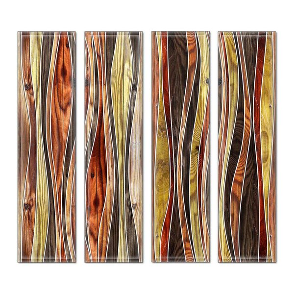 Custom 3 x 12 Beveled Glass Subway Tile in Brown/Red by Upscale Designs by EMA