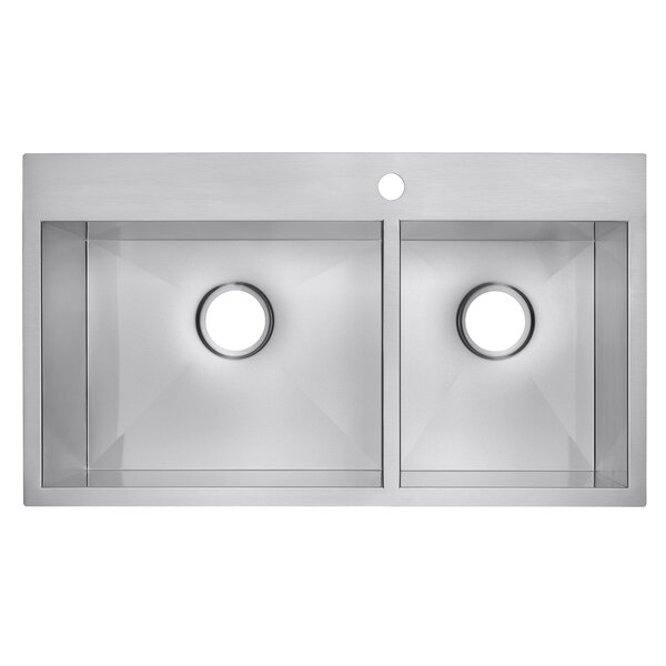 32 x 18 Drop-In Top Mount Stainless Steel Double Bowl 60/40 Kitchen Sink by AKDY