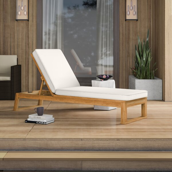 Faunce Reclining Chaise Lounge with Cushion by Mercury Row