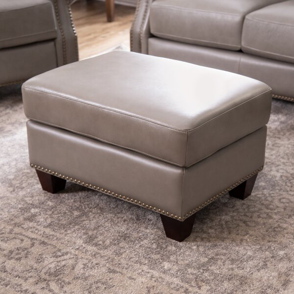 Carthage Leather Ottoman by Darby Home Co