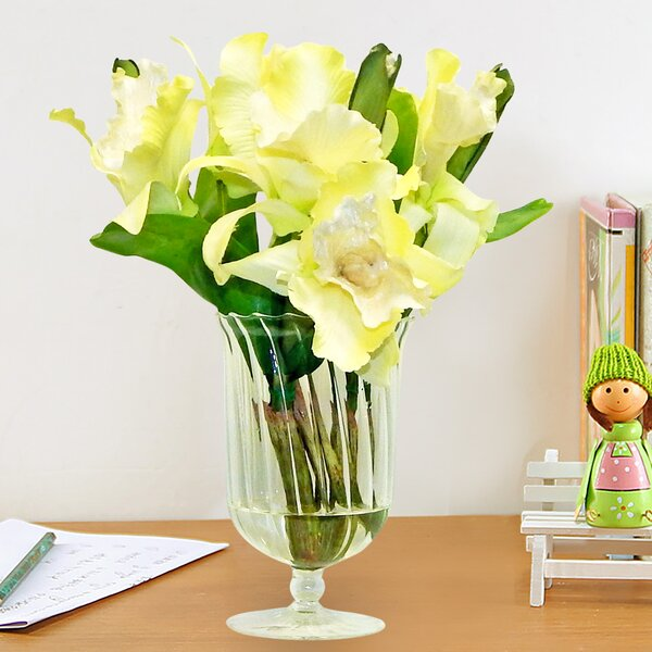 Elegant Cattleya Orchid Floral Arrangement in Glass by House of Hampton
