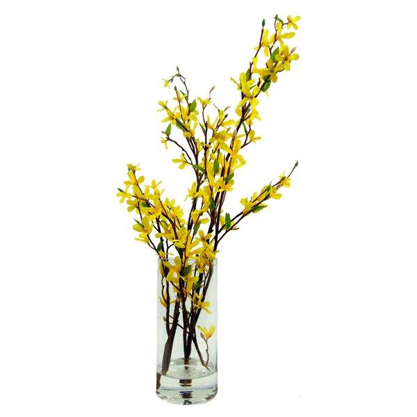creative branch faux forsythia floral arrangement in decorative vase wayfair - Forsythia Arrangements