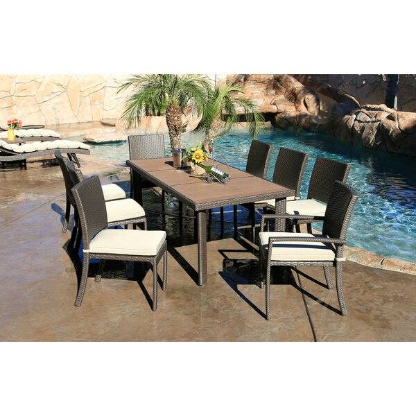 Cicero 9 Piece Dining Set with Cushions by Bayou Breeze