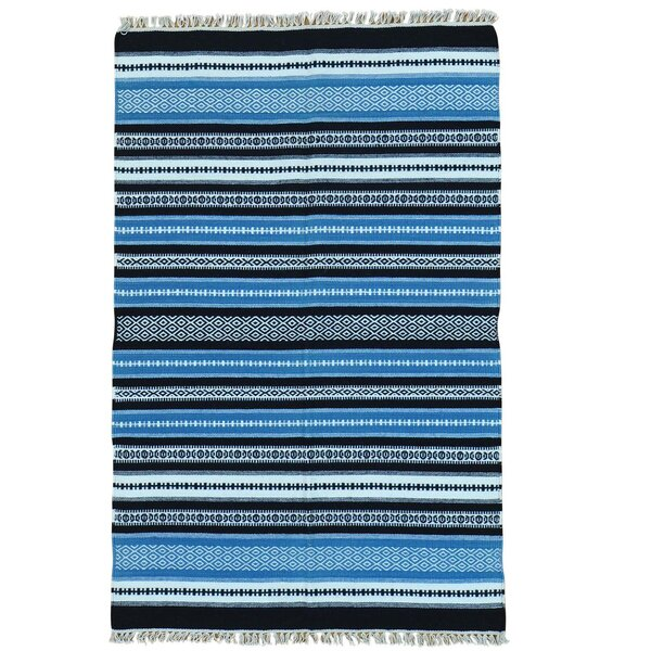 Flat Weave Durie Kilim Striped Oriental Hand-Knotted Blue/Black Area Rug by Bloomsbury Market