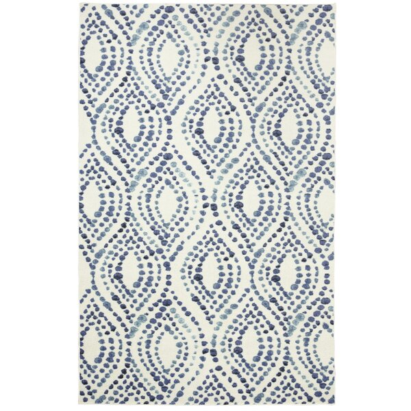 Poston Dotted Ogee Navy Area Rug by Bungalow Rose