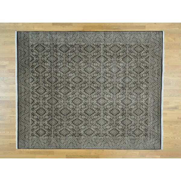 One-of-a-Kind Bean Geometric Design Hand-Knotted Brown Wool Area Rug by Isabelline