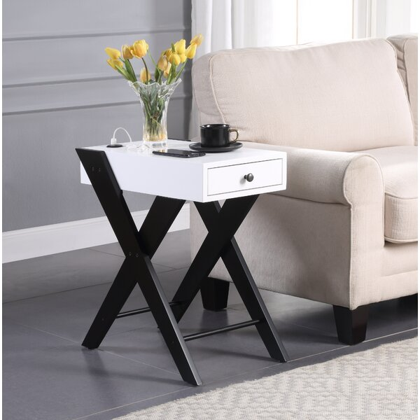 Cenhelm Cross Legs End Table With Storage By Ebern Designs
