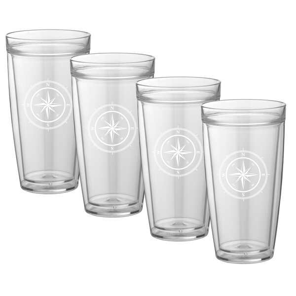 Fidel Compass Point 14 oz. Plastic Every Day Glass (Set of 4) by Breakwater Bay