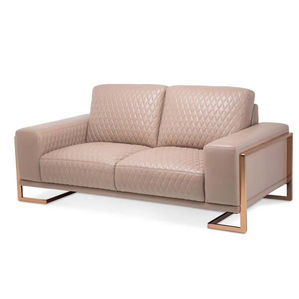 Mia Bella Gianna Leather Loveseat by Michael Amini