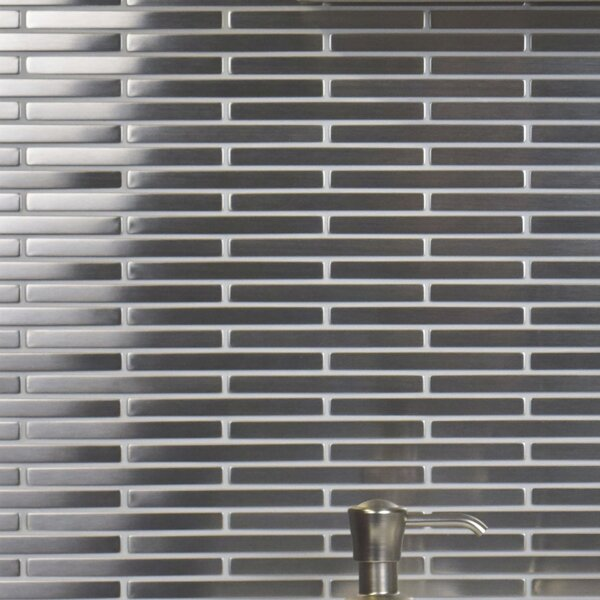Metallic 3.875 x 0.375 Stainless Steel Over Ceramic Mosaic Tile in Silver by EliteTile