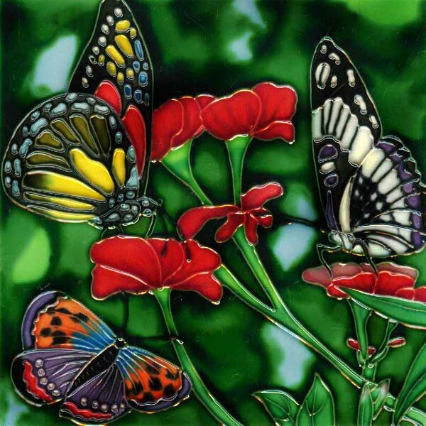 3 Butterflies and Flowers Tile Wall Decor by Continental Art Center