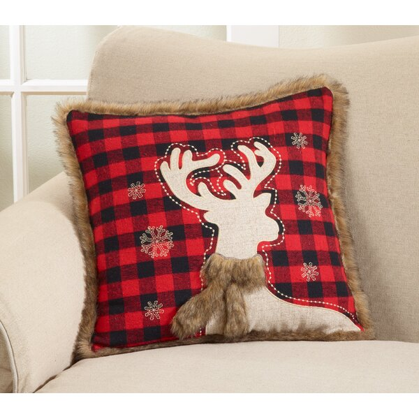 Bass Plaid Reindeer Throw Pillow by The Holiday Aisle