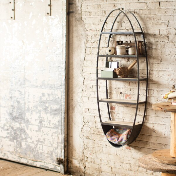 Lynnhurst Metal and Wood Oval Wall Floating Shelf by Trent Austin Design