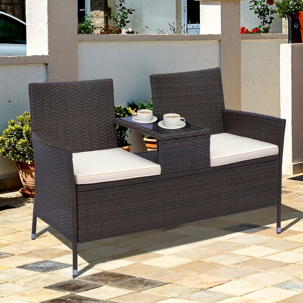Vandervoort Rattan Seating Group with 2 Cushions by Wrought Studio