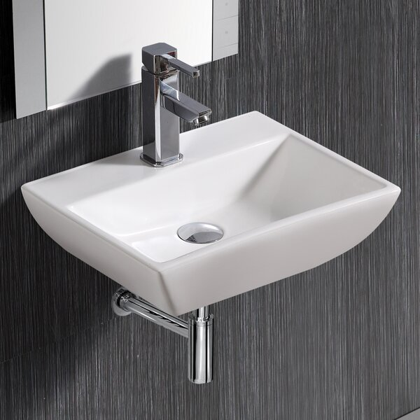 Modern Compact Ceramic 18 Wall Mount Bathroom Sink with Overflow by Elanti