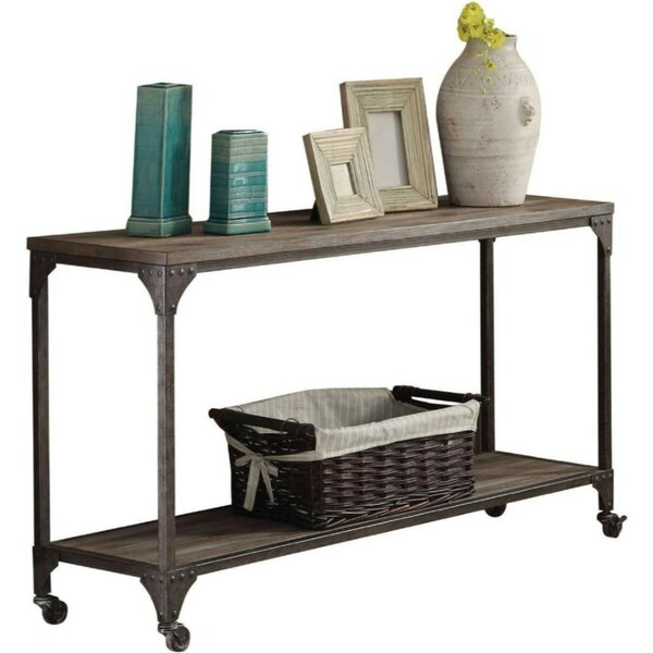 Review Buettner Metal And Wood Rectangular Console Table