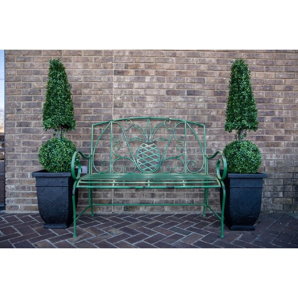 Mathis Pineapple Metal Garden Bench by Bayou Breeze