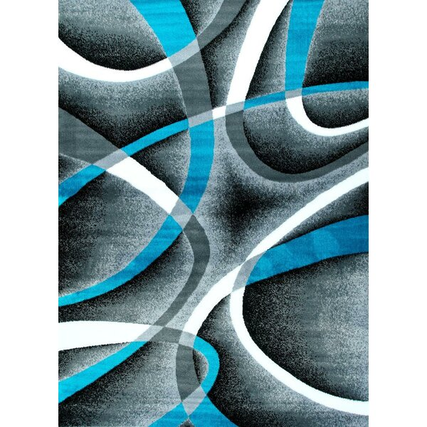 Maddox Turquoise/Gray Indoor/Outdoor Area Rug by Wade Logan