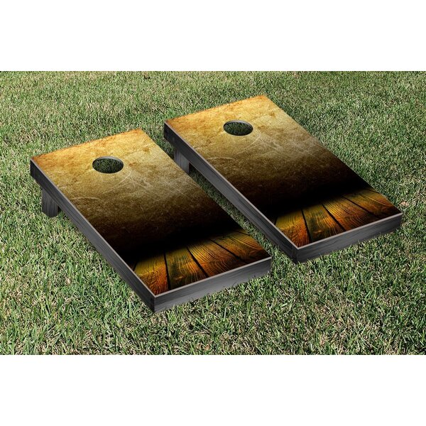 Grungy Wood Themed Cornhole Game Set by Victory Tailgate