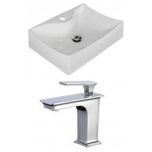 Check Prices Ceramic Rectangular Vessel Bathroom Sink with Faucet and Overflow By American Imaginations