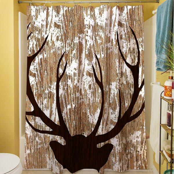 Deer Horn Shower Curtain by East Urban Home