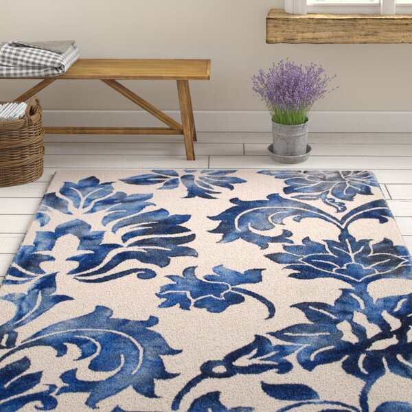 Kier Hand-Tufted Navy/Off-White Area Rug by Ophelia & Co.