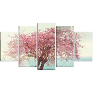 'Pink Flowers on Lonely Tree' 5 Piece Photographic Print on Canvas Set by Design Art