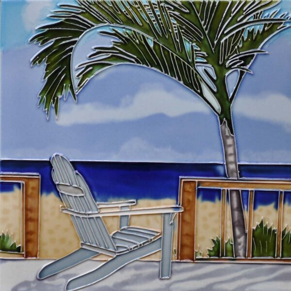 Palm with Chair on a Deck Tile Wall Decor by Continental Art Center