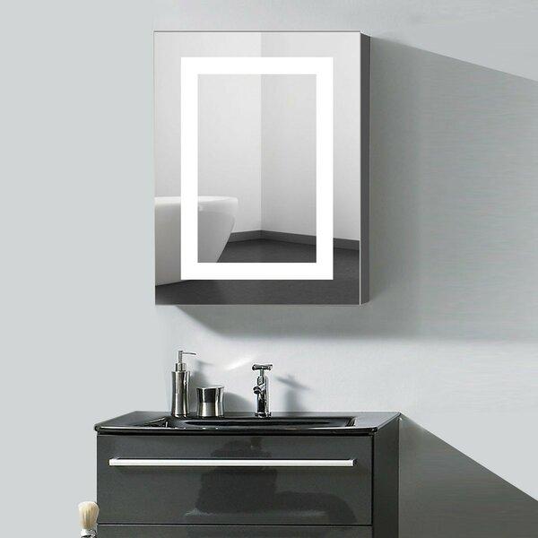 Berene Surface Mount Frameless 1 Door Medicine Cabinet with 4 Adjustable Shelves and LED Lighting