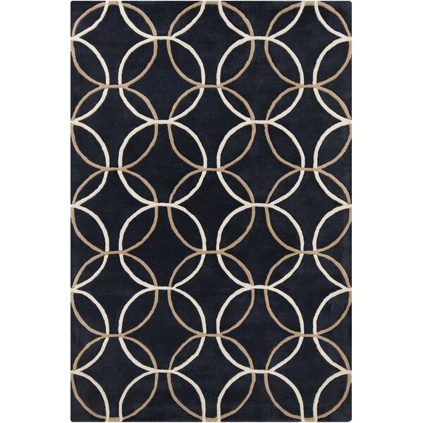 Jackeline Patterned Contemporary Wool Charcoal Area Rug by Ebern Designs