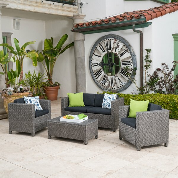 Furst 4 Piece Sofa Seating Group with Cushions by Wade Logan