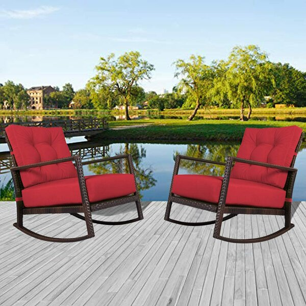 Alishaa Outdoor Rocking Chair with Cushions (Set of 2) by Latitude Run