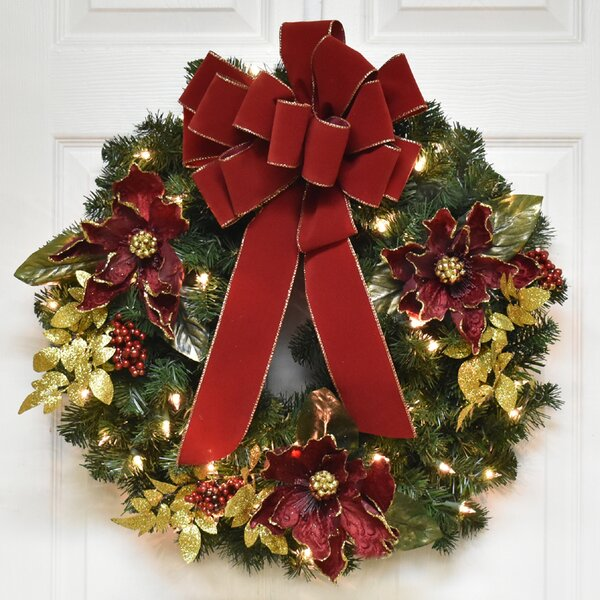 24 Christmas Wreath with Red Bow and Lights by The Holiday Aisle