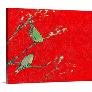 'Birds in Red ' Painting Print on Canvas by Great Big Canvas