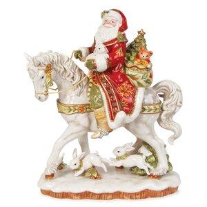 Damask Holiday Santa On Horse Figurine