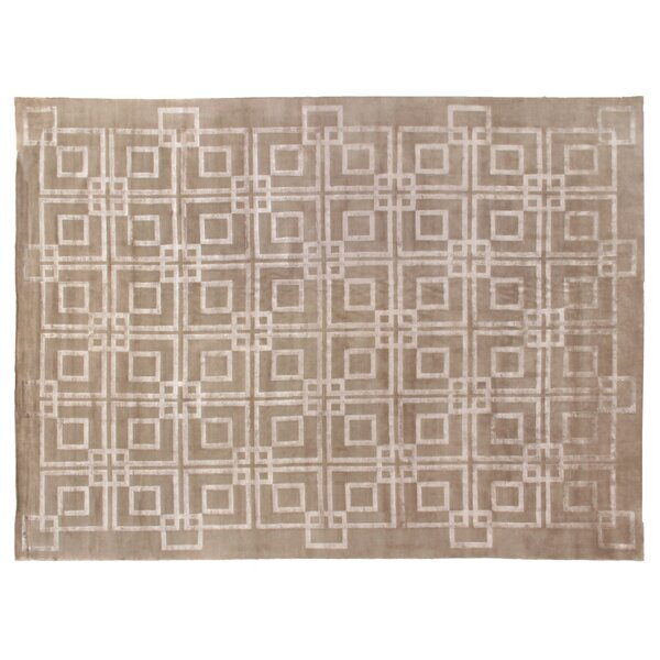 Super Tibetan Hand-Knotted Taupe Area Rug by Exquisite Rugs