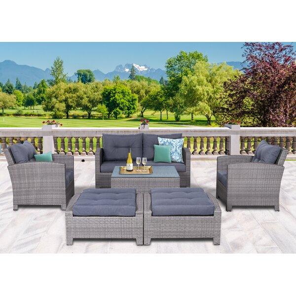 Cicero 7 Piece Rattan Sectional Seating Group with Cushions by Sol 72 Outdoor