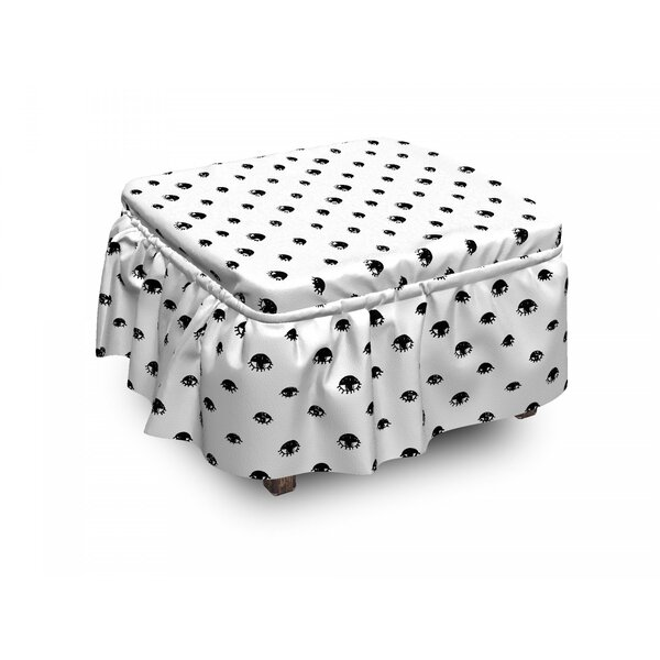 Review Eyelash Sketchy Eyes 2 Piece Box Cushion Ottoman Slipcover Set