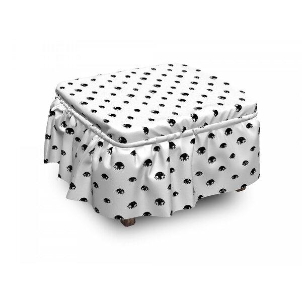 Eyelash Sketchy Eyes 2 Piece Box Cushion Ottoman Slipcover Set By East Urban Home