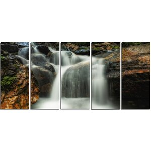 Slow Motion Waterfall on Rocks 5 Piece Wall Art on Wrapped Canvas Set by Design Art