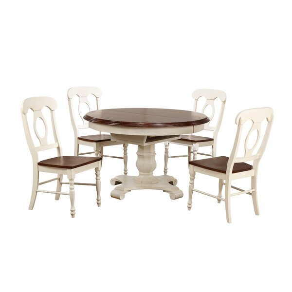 Lockwood Butterfly Leaf 5 Piece Breakfast Nook Solid Wood Dining Set by Loon Peak