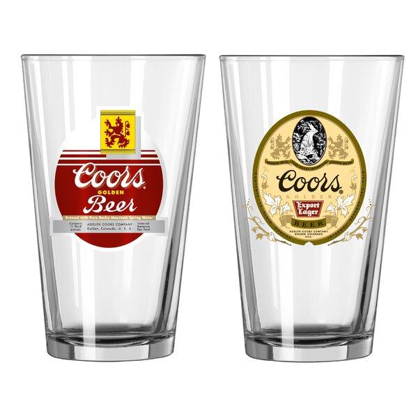 Coors Retro 2 Piece 16 Oz. Glass Pint Glasses Set by Boelter Brands