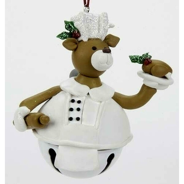 3.5 Chef Cook Baker Deer Jingle Bell Christmas Hanging Figurine by The Holiday Aisle