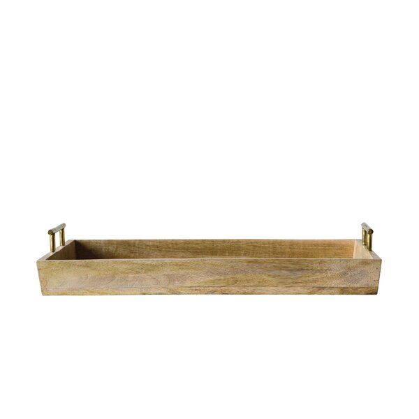 Gohoho Mango Wood and Aluminum Accent Tray by August Grove