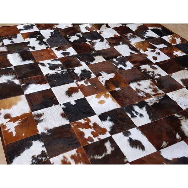 One-of-a-Kind Beechwood Patchwork Hand-Woven Cowhide Brown/Black Area Rug by Foundry Select
