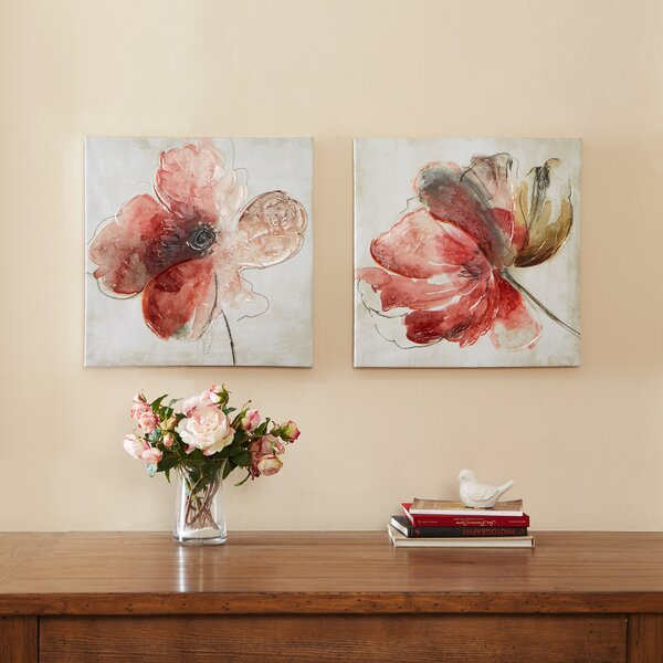Lovely Blooms 2 Pieces Painting Print on Canvas Set by House of Hampton