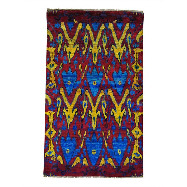 One-of-a-Kind Fuqua Sari Ikat Oriental Hand-Knotted Silk Red Area Rug by World Menagerie