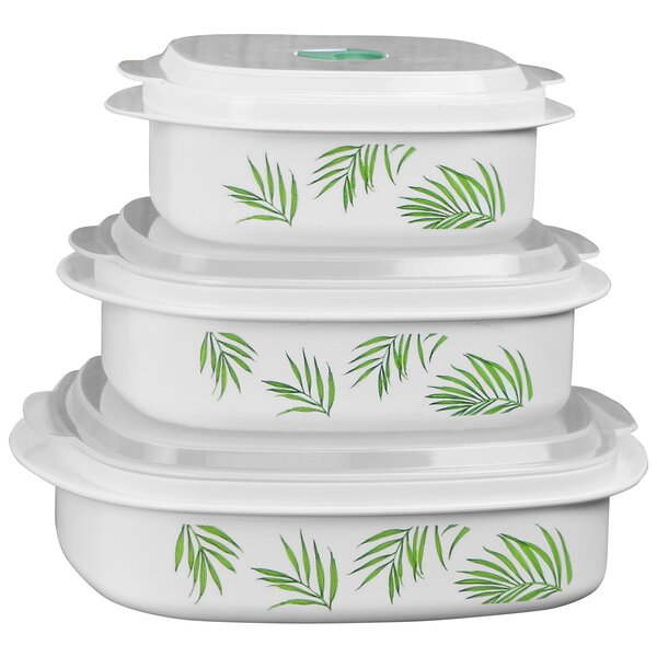Bamboo Leaf Microwave Cookware 3 Container Food Storage Set by Corelle